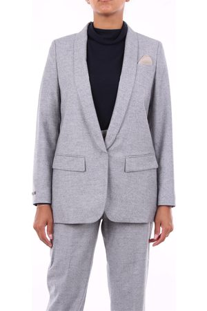 PESERICO SIGN Blazer Women Light grey wool - silk - polyamide and elastane