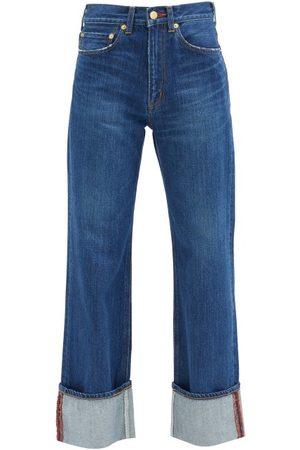 TU ES MON TRESOR Carnelian High-rise Turn-up Jeans - Womens - Dark Denim