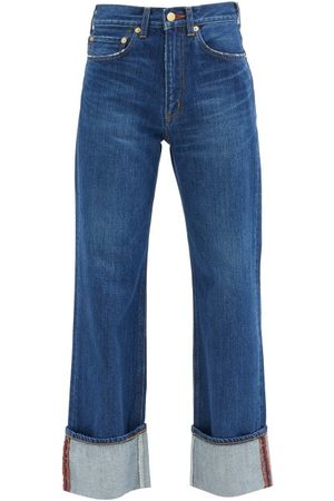 TU ES MON TRESOR Women High Waisted - Carnelian High-rise Turn-up Jeans - Womens - Dark Denim