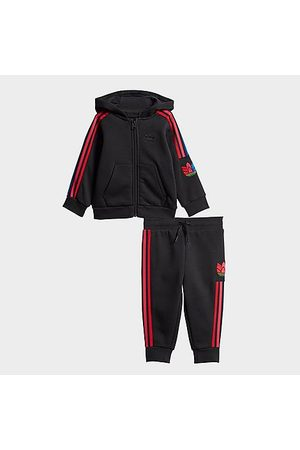 adidas Sets - Boys' Infant Originals Adicolor 3D Trefoil Full-Zip Hoodie and Jogger Pants Set in