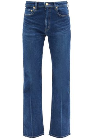 TU ES MON TRESOR Women High Waisted - Amethyst High-rise Flared-leg Jeans - Womens - Dark Denim