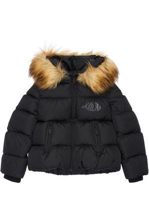 Dsquared2 Hooded Nylon Down Jacket W/ Faux Fur