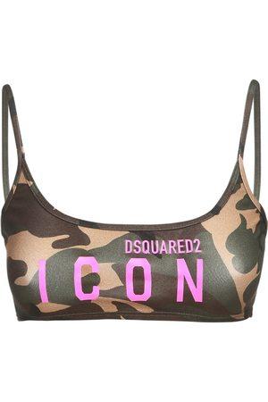 Dsquared2 Camo & Logo Print Jersey Bandeau Top