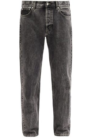 Séfr Marbled-wash Straight-leg Jeans - Mens - Grey