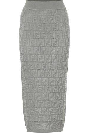 Fendi Cotton-blend knit midi skirt
