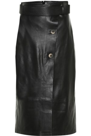 Zeynep Arcay High-rise leather wrap skirt
