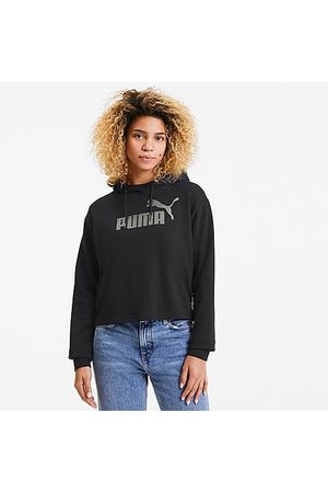 PUMA Women's Essential Metallic Cropped Hoodie Size Medium Cotton