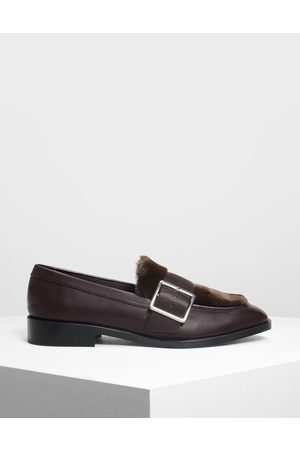 CHARLES & KEITH Buckled Furry Detail Loafers