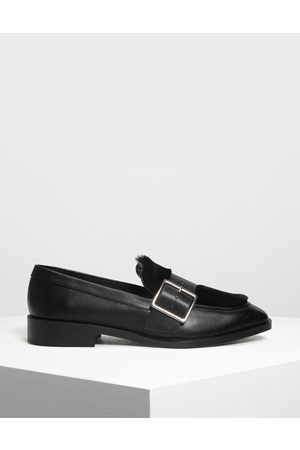 CHARLES & KEITH Women Loafers - Buckled Furry Detail Loafers