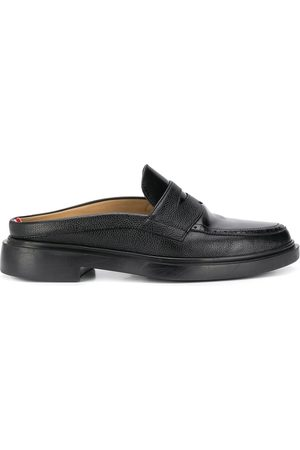 Thom Browne Men Loafers - Pebbled leather penny loafer mules