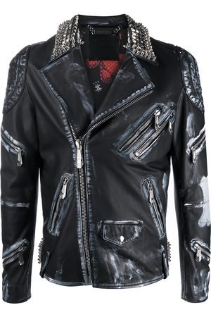 Philipp Plein Distressed-look moto jacket