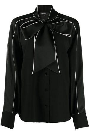 Rochas Contrast-trim tie neck blouse