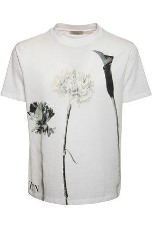 VALENTINO Floral Logo Print Cotton T-shirt