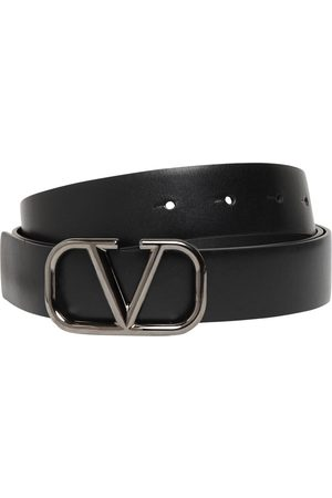 VALENTINO GARAVANI 30mmm Leather Belt W/ V-logo Buckle