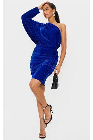 PRETTYLITTLETHING Cobalt Velvet One Shoulder Ruched Midi Dress