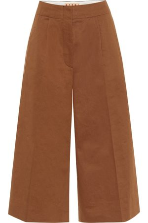 Marni High-rise cotton and linen culottes