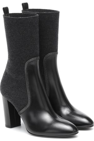 Brunello Cucinelli Leather and wool ankle boots