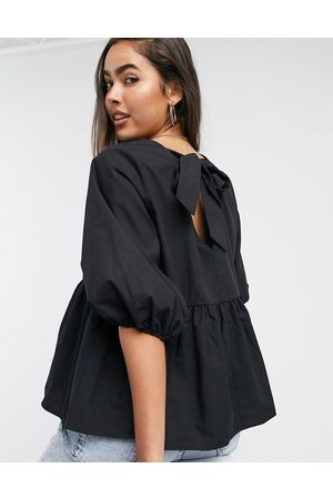 ASOS Long sleeves - Long sleeve cotton smock top with pep hem in