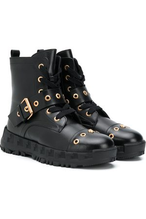 VERSACE Buckle-embellished combat boots