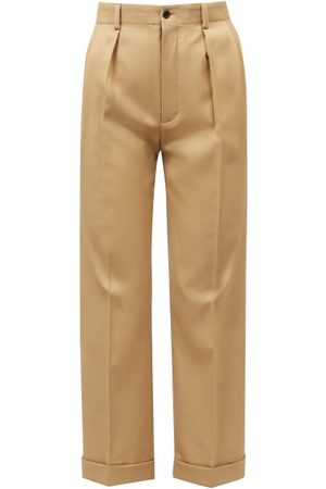 Saint Laurent Women Straight Leg Pants - High-rise Wool-gabardine Straight-leg Trousers - Womens