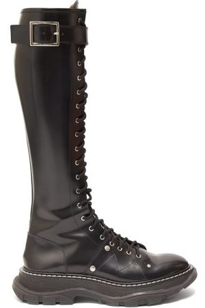 Alexander McQueen Women Thigh High Boots - Tread Exaggerated-sole Leather Knee-high Boots - Womens