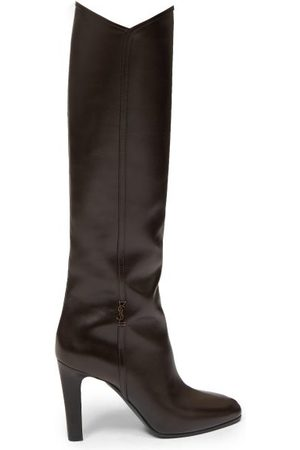 Saint Laurent Women Thigh High Boots - Jane Knee-high Leather Boots - Womens - Dark