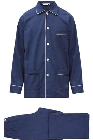 DEREK ROSE Balmoral Brushed-cotton Pyjama Set - Mens - Navy
