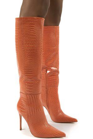 Public Desire US Aimi Croc Knee High Stiletto Heel Boots - US 5