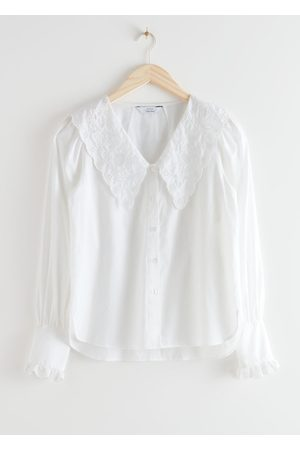& OTHER STORIES Embroidered Statement Collar Blouse