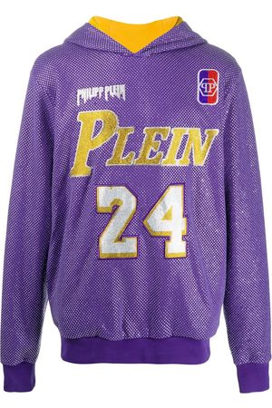 Philipp Plein Hoodies - Glass-embellished bball hoodie