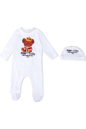 Philipp Plein Teddy print babygrow set