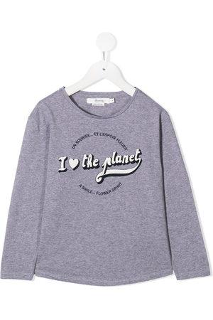 BONPOINT Slogan print long-sleeve top - Grey