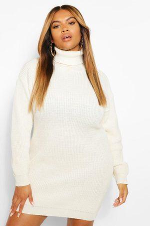 Boohoo Womens Plus Roll Neck Sweater Dress - - 12