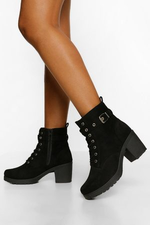 Boohoo Womens Buckle Lace Up Chunky Hiker Boots - - 5