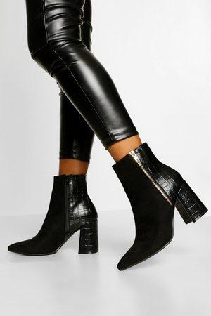 Boohoo Womens Zip Side Block Heel Shoe Boot - - 5