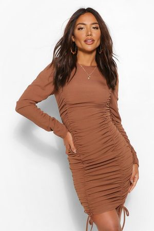 Boohoo Womens Gathered Sleeve Ruched Front Mini Dress - - 8