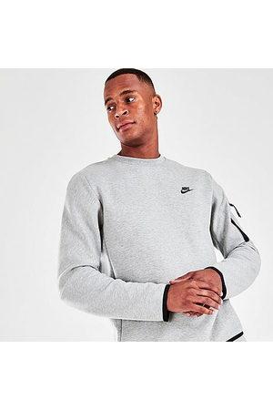 Nike Men Sweatshirts - Men's Sportswear Tech Fleece Crewneck Sweatshirt in Grey/Dark Grey Heather Size Small Cotton/Polyester/Fleece