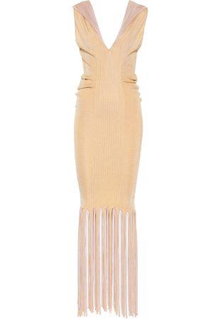 Bottega Veneta Fringed ribbed-knit midi dress
