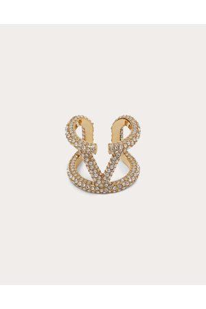 VALENTINO GARAVANI Vlogo Metal And Crystal Ring Women Brass 100% 11