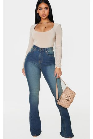 PRETTYLITTLETHING Shape Vintage Wash High Waist Skinny Flared Jeans
