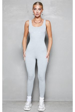 PRETTYLITTLETHING Grey Scoop Neck Jumpsuit