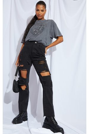 PRETTYLITTLETHING Washed Distressed High Waisted Straight Leg Jean
