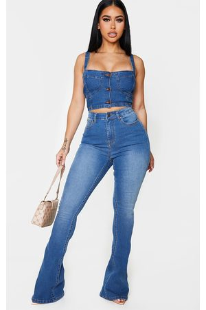 PRETTYLITTLETHING Women High Waisted - Shape Mid Wash High Waist Skinny Flared Jeans