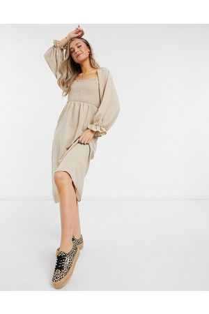 New Look Shirred square neck midi dress in camel