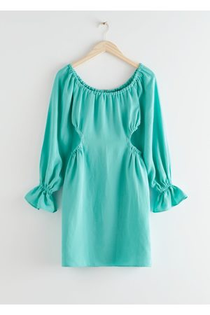 & OTHER STORIES Off Shoulder Cut Out Mini Dress - Turquoise