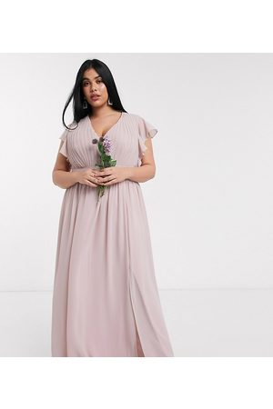TFNC Bridesmaid plunge front flutter sleeve maxi dress in