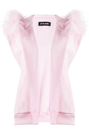 Styland Feather-trim sleeveless jacket