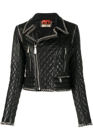 Philipp Plein Chain-embellished quilted moto jacket