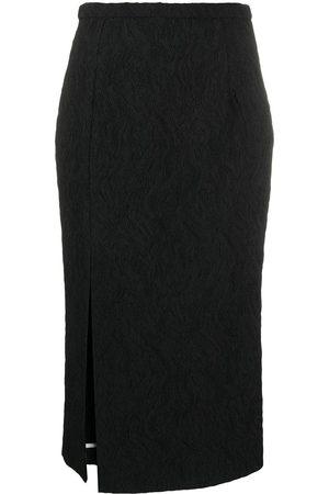 Rochas Split-hem matelassé pencil skirt