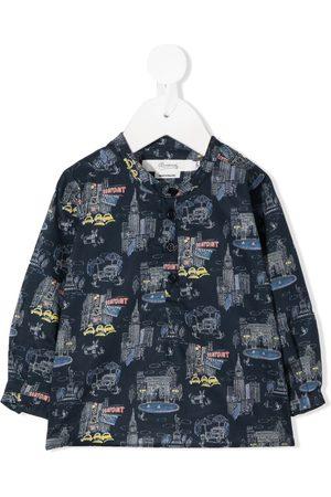BONPOINT Collarless graphic print shirt